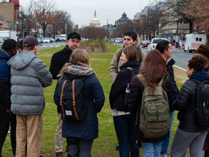 professor with CALL students outside in DC.